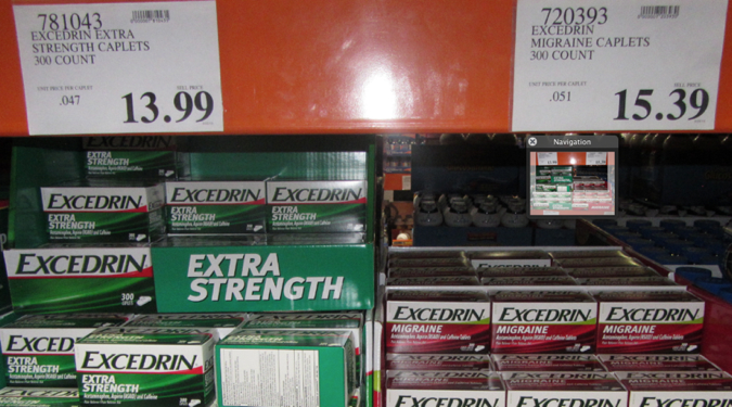 "Excedrin for Migraine usually costs more than Excedrin Extra Strength. Why? Maybe because it has the word ""migraine"" and maybe because red ink costs more."